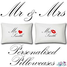Personalised Mr And Mrs Pillow Cases | Two Items | Wedding | Add Name | Gifts