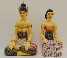 Huge Pair of Wooden Loro Blonyo Javanese Happy Marriage Dolls Vtg Javanese Art