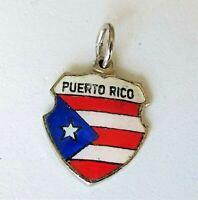 PUERTO RICO Vintage Sterling Silver Enamel Travel Shield Charm RARE