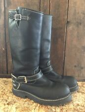 John Fluevog Safety Vogs Black Leather Buckle Mid Calf Motorcycle Boots Wmn 6E