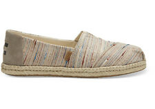 NEW WOMEN TOMS CLASSIC ALPARAGATA ROPE ESPADRILLE SILVER BIRCH METAL WOVEN SHOES