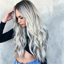 Fashion Lady Gray Cosplay Masquerade Wigs Christmas Curly Hair Ombre Party Gifts