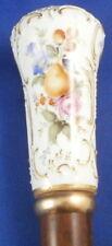 Antique 19tC Meissen Porcelain Fruit Scene Cane Umbrella Handle Porzellan Griff