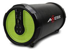 "Axess Rechargeable Bluetooth 3"" Subwoofer 2.1 Hi-Fi Cylinder Speaker SPBT1030-GN"
