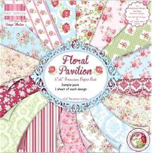 FLORAL PAVILION Dovecraft 6 x 6 Sample Paper Pack  1 of Each Design - 16 Sheets.