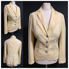 PER UNA Linen Cotton Stretch Blazer Jacket Yellow Classy Chic Unlined Women's 14