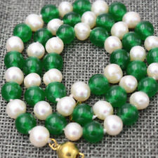 """New 7-8MM White Akoya Pearl & 8mm Green Emerald Necklace 18"""""""