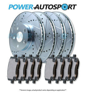 (FRONT + REAR) POWER DRILLED SLOTTED PLATED BRAKE DISC ROTORS + PADS 82523PK