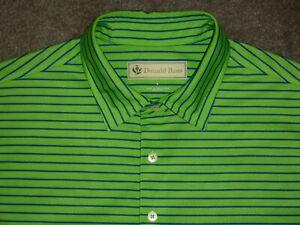 Men's NWOT DONALD ROSS Golf Polo L GREEN w/Aqua Blue Stripes ~ Polyester