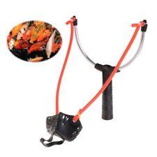 Aluminum Alloy Fishing Bait Slingshot Thrower Elastic Powerful Catapult Food Bag