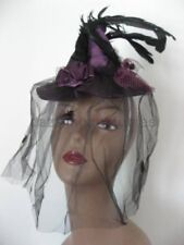 Mini Witch Hat Purple Spider Lace Veil Cocktail Feathers Halloween Costume Prop