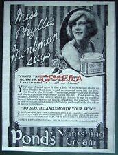 1921 'PONDS' Vanishing Cream Toiletries ADVERT - Small Cosmetics Print Ad