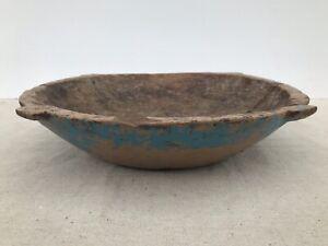 Antique Primitive Wood Bowl in Worn Blue Paint