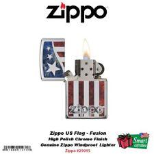 Zippo Logo US Flag Design Lighter, High Polish Chrome, Fusion #29095