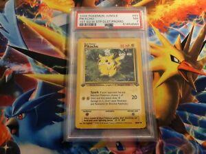 Pokemon Card 1999 Jungle Pikachu 1st Edition W Stamp Duelist Stamp PSA 7 NR MINT