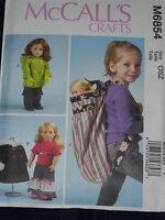 "18"" Doll Coats Backpack Mittens Top Pants  McCalls 6854 Sewing Pattern"