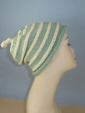 PRINTED  INSTRUCTIONS- STRIPEY ROLL BRIM TOPKNOT SLOUCH HAT KNITTING PATTERN