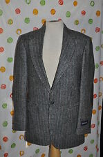HAGGAR MENS 38 R  BLACK tweed leather elbow wool blend SPORTS  JACKET BLAZER NWT
