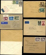 POLAND 1934-48 MULTI FRANKINGS...12 STAMPS on 5 COVERS to GB SCOTLAND + INTERNAL