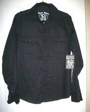 RAW STATE | MENS Long / Sleeve Black On Black FELT GRAPHIC SHIRT Size Small NEW