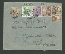 Spain: 1940; Cover to Venezuela registered Medina del Campo, +2 labels, EBES102