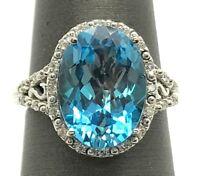 14K White Gold Oval 5 CTW Blue Aquamarine - .22 CTW Diamond Halo Cocktail Ring