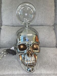 """Bella Lux Hallloween Skull Accent Lamp Day Of The Dead Gothic Fun 13"""" NWT"""
