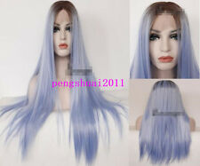 Lace Front Wigs Brown Blue Ombre Hair Straight Heat Resistant Synthetic Women
