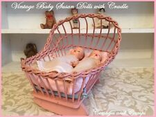 Vintage Pair of Baby Susan Dolls in Dresses & Pink Bassinet Cradle with Mattress