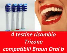 4 TESTINE RICAMBIO ORAL B COMPATIBILI TRIZONE SPAZZOLINO ELETTRICO EB-30A