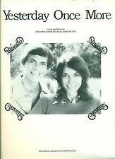 """THE CARPENTERS """"YESTERDAY ONCE MORE"""" PIANO/VOCAL/GUITAR CHORDS SHEET MUSIC 1973!"""