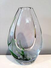 Kosta Boda Sweden Seaweed Vase with Engraved Fish by Vicke Lindestrand 1962
