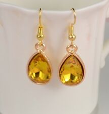 SMALL GOLD TONE TEAR DROP EARRINGS WITH TOPAZ COLOUR DIAMANTE FACETED CRYSTAL