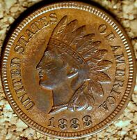 1888 Indian Head Cent - AU+ ATTRACTIVE COIN with SOME BLEMISHES (K975)