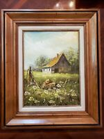 Rossini Signed Original Oil on Canvas Famous Artist Rustic Barn Scene w Daisies