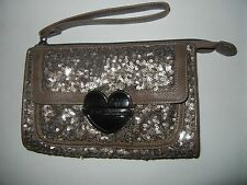 XOX BETSEY JOHNSON Heart Lock Wallet Wristlet Taupe w/ Tiny Gold Sequins