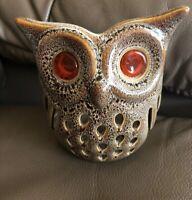 PARTYLITE STONEWARE BROWN OWL w/ ORANGE GLASS EYES CANDLE HOLDER