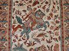 3 Horses Shikar Gah Hunting Wall Rug Hand Knotted Wool Silk Carpet (5 x 3)'