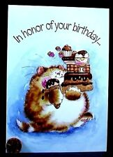 MAGNIFICATS By Margaret Sherry - Chubby Cat Ice Cream Cake Birthday Card - NEW