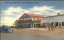 Wells Beach ME Casino & Theatre LINEN Postcard