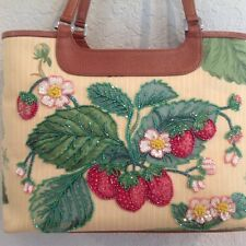 ISABELLA FIORE BEADED SEQUINED Summer STRAWBERRY FLOWERED HANDBAG  DIVA GAL FAV