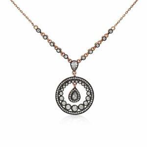 $110 Turkish Diamond Cut Art Deco Artisan Necklace Sterling Silver Rose Gold
