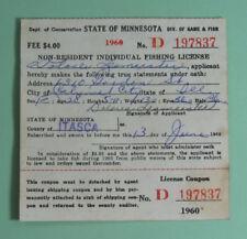 Vintage 1960 Minnesota Non-Resident Individual Fishing License.Free Shipping!