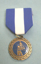 male baseball batter medal blue and white pin ribbon