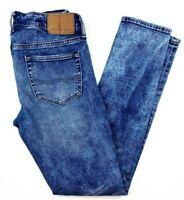 American Eagle Men's Jeans Size 30 x 32 Distressed Skinny Acid Wash Stretch Blue
