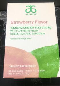 Arbonne NEW! Ginseng Energy Fizz Sticks - Strawberry Flavor #2111