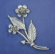 """Vintage Sterling Silver Floral Brooch Pin Signed CORO 2 1/4"""" x 3 5/8"""""""