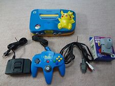 Nintendo 64 Pikachu Blue Yellow Console N64 Tested Work