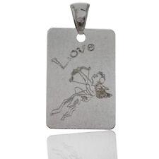 Ciondolo Targhetta mm 33x22 in argento 925 rodiato con scritta Love e Cupido