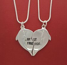 Dolphin Best Friends Necklaces 2 Silver Plated Pendants and Chains BFF Heart